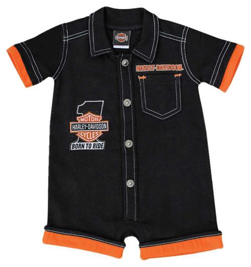 Harley-Davidson® Baby Boys' #1 B&S Interlock Short Sleeve Newborn Romper 3052519 - Wisconsin Harley-Davidson