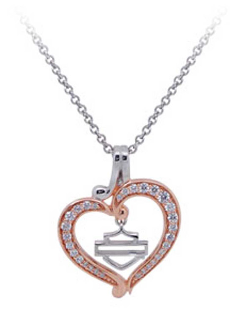 Davidson Womens Rose Gold Plated Silver Bling Heart Necklace