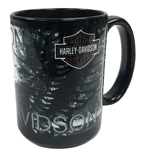 Harley-Davidson® Distressed Eagle Bar & Shield Coffee Mug 15 oz Black HD-HD-923-2 - Wisconsin Harley-Davidson