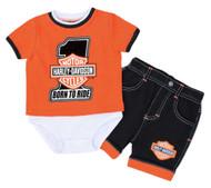 Harley-Davidson® Baby Boys' #1 B&S Creeper w/ Shorts Newborn Set 3052517 - Wisconsin Harley-Davidson