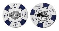 Harley-Davidson® Wisconsin Harley-Davidson® Poker Chip White & Blue CHIP - Wisconsin Harley-Davidson