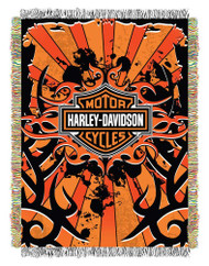 Harley-Davidson® Inkburst Woven Tapestry Throw Blanket, 48 x 60 Inches NW303478 - Wisconsin Harley-Davidson