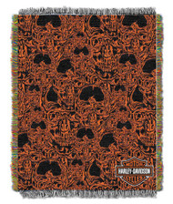Harley-Davidson® Skull City Woven Tapestry Throw Blanket, 48 x 60 Inches NW410367 - Wisconsin Harley-Davidson