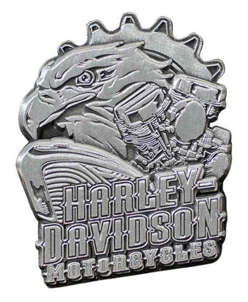 Harley-Davidson® 3D Die Cast Eagle Engine Pin, Antiqued Silver Finish P202063 - Wisconsin Harley-Davidson