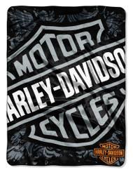 Harley-Davidson® Street Crest Royal Plush Raschel Throw, 50 x 60 inch NW868809 - Wisconsin Harley-Davidson