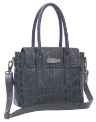 Harley-Davidson® Women's Croco Leather Satchel Purse, Black LC7429L-BLACK - Wisconsin Harley-Davidson