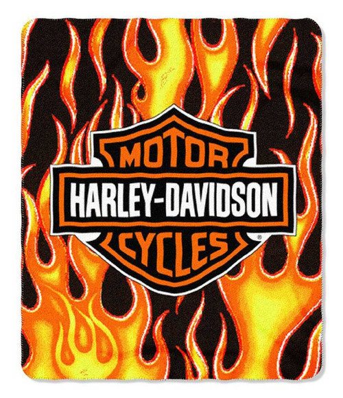 Harley-Davidson® Fresh B&S Flames Logo Fleece Throw Blanket, 50 x 60 in NW398214 - Wisconsin Harley-Davidson