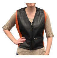 Redline Leather Women's Orange & Black Cowhide Leather Motorcycle Vest L-3430 - Wisconsin Harley-Davidson