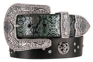 Harley-Davidson® Women's Snake Charmer Genuine Leather Belt, Black HDWBT11302-BLK - Wisconsin Harley-Davidson