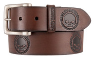 Harley-Davidson® Men's Embossed Willie's World Leather Belt, Brown HDMBT11333-BRN - Wisconsin Harley-Davidson