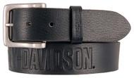 Harley-Davidson® Men's Embossed Ride The Line Leather Belt, Black HDMBT11331-BLK - Wisconsin Harley-Davidson