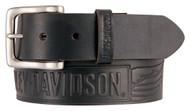 Harley-Davidson® Men's Embossed Crosswind Leather Belt, Black HDMBT11334-BLK - Wisconsin Harley-Davidson