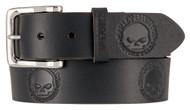 Harley-Davidson® Men's Embossed Willie's World Leather Belt, Black HDMBT11332-BLK - Wisconsin Harley-Davidson