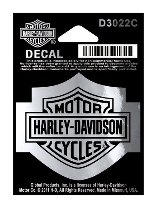 Harley-Davidson® Bar & Shield Logo Chrome Decal, SM 2.25 x 1.75 inches D3022C - Wisconsin Harley-Davidson
