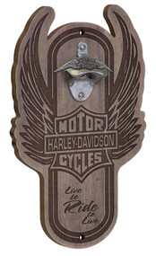 Harley-Davidson® Winged Bar & Shield Magnetic Wooden Bottle Opener HDL-18570 - Wisconsin Harley-Davidson