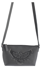 Harley-Davidson® Women's Eagle Embossed Leather Crossbody Purse ZWL2972-BLACK - Wisconsin Harley-Davidson