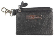 Harley-Davidson® Women's Hand Tooled Leather Zip Coin Pouch ZWL1651-BLACK - Wisconsin Harley-Davidson