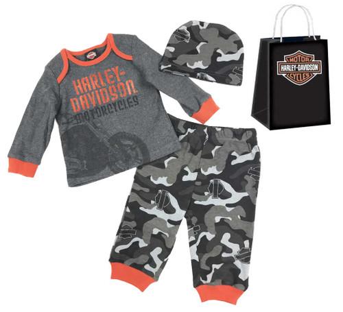 Harley-Davidson® Baby Boys' H-D 3 Piece Hanging Gift Set, Grey 2553501 - Wisconsin Harley-Davidson