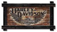 Harley-Davidson® Black Frame H-D Wings w/ Red Brick Sign, Wood BRK21-BLK/WNG-HARL - Wisconsin Harley-Davidson