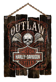 Harley-Davidson® Irregular Edge Outlaw Wooden Slat Sign, Black CU97-OL-AD-HARL - Wisconsin Harley-Davidson