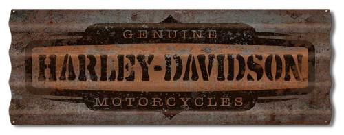 Harley-Davidson® Distressed Corrugated Genuine HD Logo Metal Sign A5-COR-GEN-HARL - Wisconsin Harley-Davidson