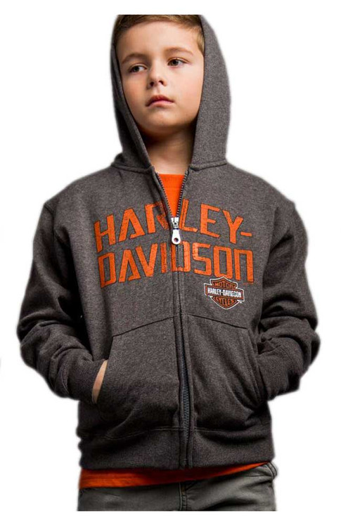 Harley-Davidson® Big Boy's Brazen Defiance Full-Zip Hooded Sweatshirt, Gray - Wisconsin Harley-Davidson