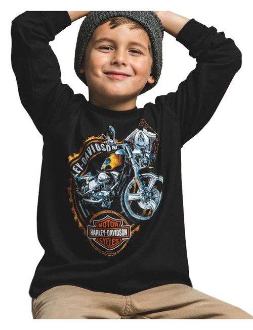 Harley-Davidson® Big Boy's Roaring Engine Long Sleeve Crew Neck Shirt, Black - Wisconsin Harley-Davidson