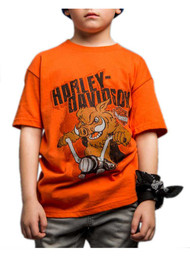 Harley-Davidson® Little Boy's Handcrafted Hog Short Sleeve Tee, Orange - Wisconsin Harley-Davidson