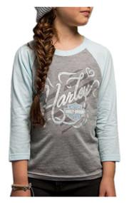 Harley-Davidson® Girls' Candy Floss 3/4 Raglan Sleeve Crew Neck Shirt 5P0Y-HC5M - Wisconsin Harley-Davidson