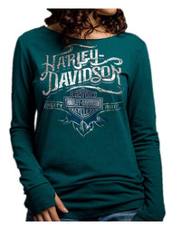 Harley-Davidson® Women's Powerful Chrome Soul Long Sleeve Shirt, Green 5V32-HD05 - Wisconsin Harley-Davidson
