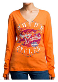 Harley-Davidson® Women's Braking Properly Long Sleeve V-Neck Shirt 5U15-HD07 - Wisconsin Harley-Davidson