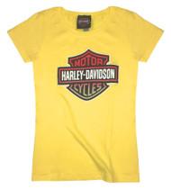 Harley-Davidson® Girls' Glittery Spark Emotions Short Sleeve Crew Tee 5Q04-HB7G - Wisconsin Harley-Davidson