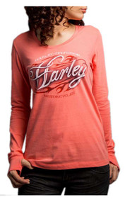Harley-Davidson® Women's Fast Freak Long Sleeve Scoop Neck Shirt, Pink 5Q27-HD04 - Wisconsin Harley-Davidson