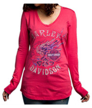 Harley-Davidson® Women's Loud Skull Wings Long Sleeve V-Neck Shirt 5V37-HD0C - Wisconsin Harley-Davidson