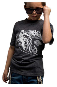 Harley-Davidson® Little Boy's Glow in the Dark Short Sleeve T-Shirt, Charcoal - Wisconsin Harley-Davidson