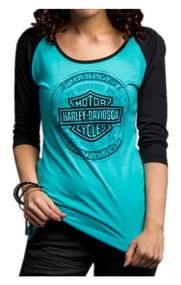 Harley-Davidson® Women's Handcrafted Badass 3/4 Sleeve Raglan Shirt 5U33-HC9Z - Wisconsin Harley-Davidson