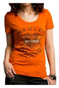 Harley-Davidson® Women's Never Be Neglected Short Sleeve Tee, Orange 5E34-HC9V - Wisconsin Harley-Davidson