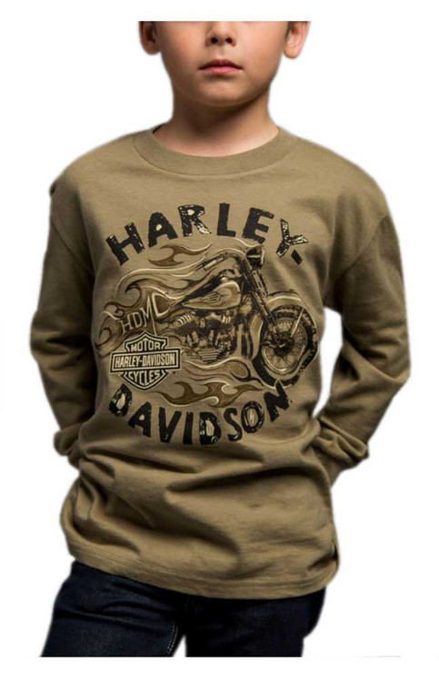 Harley-Davidson® Big Boy's Arriving Safely Long Sleeve Crew Shirt, Green - Wisconsin Harley-Davidson