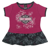 Harley-Davidson® Little Girls' Glittery B&S Interlock Toddler Peplum Top 1024621 - Wisconsin Harley-Davidson