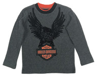 Harley-Davidson® Little Boys' Eagle Thermal Long Sleeve Shirt, Dark Gray 1073529 - Wisconsin Harley-Davidson