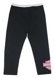 Harley-Davidson® Little Girls' Glittery Interlock Lounge Pants, Black 4024537 - Wisconsin Harley-Davidson