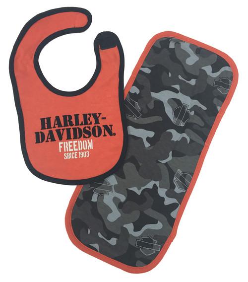 Harley-Davidson® Baby Boys' H-D Camo Bib & Burp Cloth Newborn Set 7053503 - Wisconsin Harley-Davidson