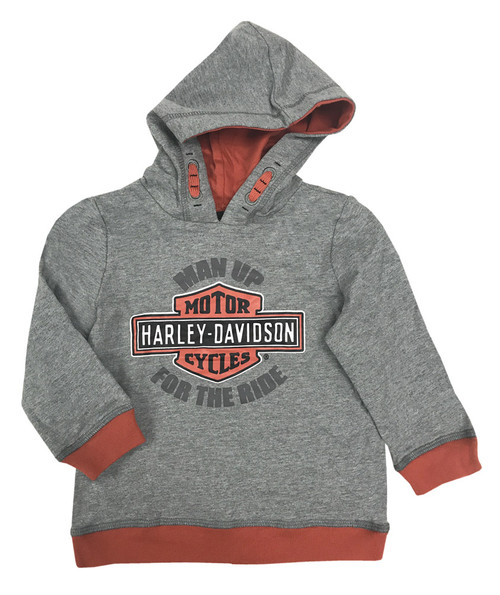 Harley-Davidson® Baby Boys' Man Up Terry Infant Pullover Hoodie, Gray 6564633 - Wisconsin Harley-Davidson