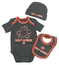 Harley-Davidson® Baby Boys On The Road 3 Piece Newborn Gift Box Set, Gray 2553613 - Wisconsin Harley-Davidson
