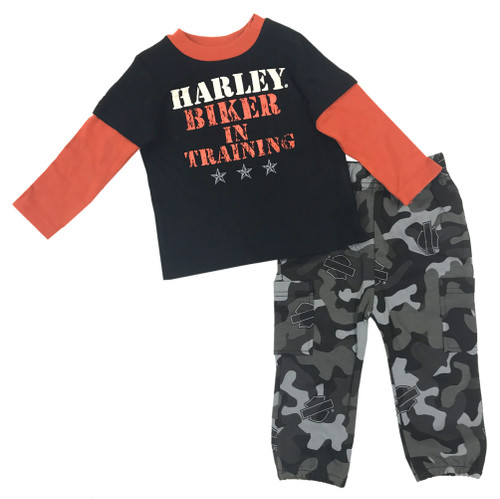 Harley-Davidson® Baby Boys' Boot Camp 2-Piece Printed Interlock Pant Set 2053513 - Wisconsin Harley-Davidson