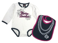 Harley-Davidson® Baby Girls' Bling 2-Piece Infant Creeper & Bib Set 3014617 - Wisconsin Harley-Davidson