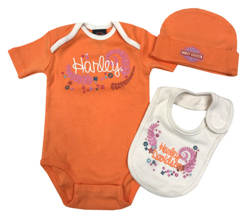 Harley-Davidson® Baby Girls' Glitter 3 Piece Creeper Gift Box Set, Orange 2503645 - Wisconsin Harley-Davidson