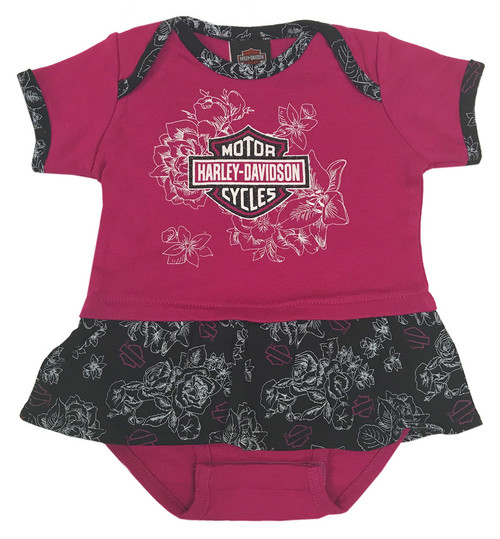 Harley-Davidson® Baby Girls' Glittery Floral Peplum Infant Creeper, Pink 3014621 - Wisconsin Harley-Davidson