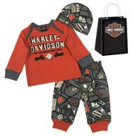 Harley-Davidson® Baby Boys' Road Map 3 Piece Gift Set w/ Gift Bag 2553603 - Wisconsin Harley-Davidson