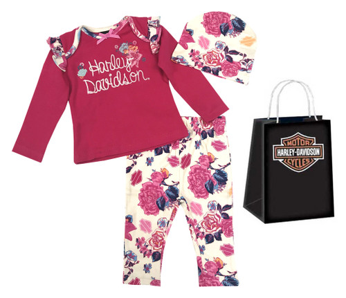 Harley-Davidson® Baby Girls' Floral 3 Piece Gift Set w/ Gift Bag, Pink 2503637 - Wisconsin Harley-Davidson